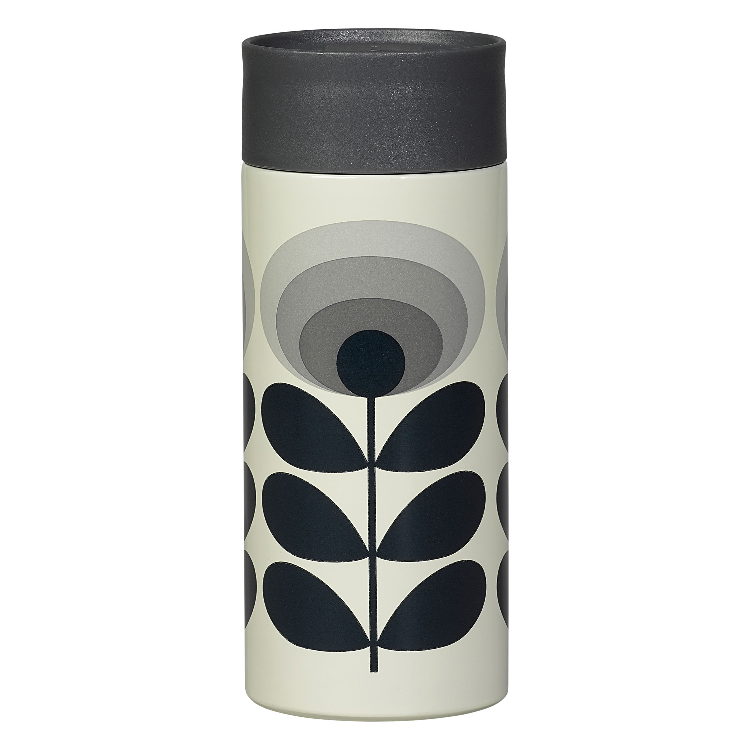Travel Mug, 70s Oval Flower, Grey