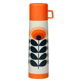 Flask, 70s Oval Flower, Orange