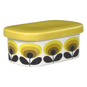 Butter Dish, 70s Oval Flower, Yellow
