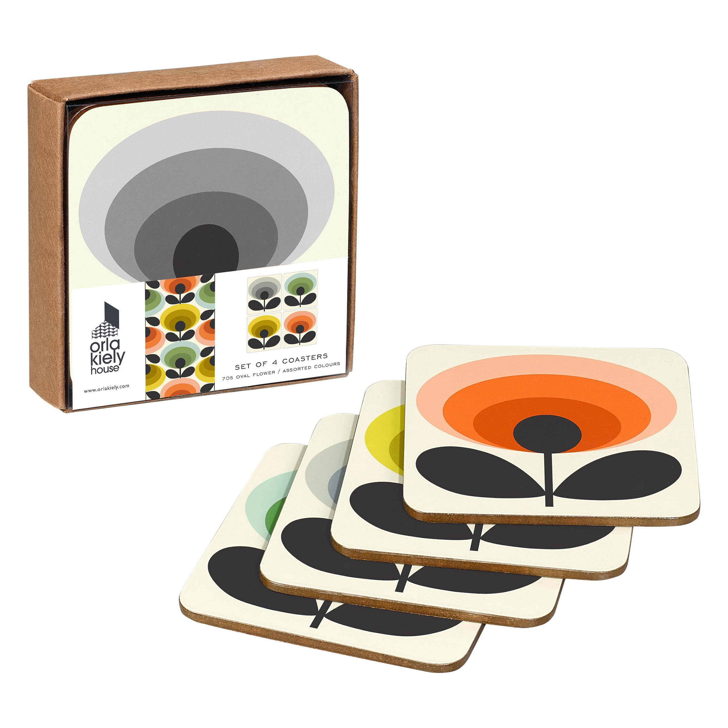 Coasters 70s Oval Flower, Assorted Colours, Set of 4