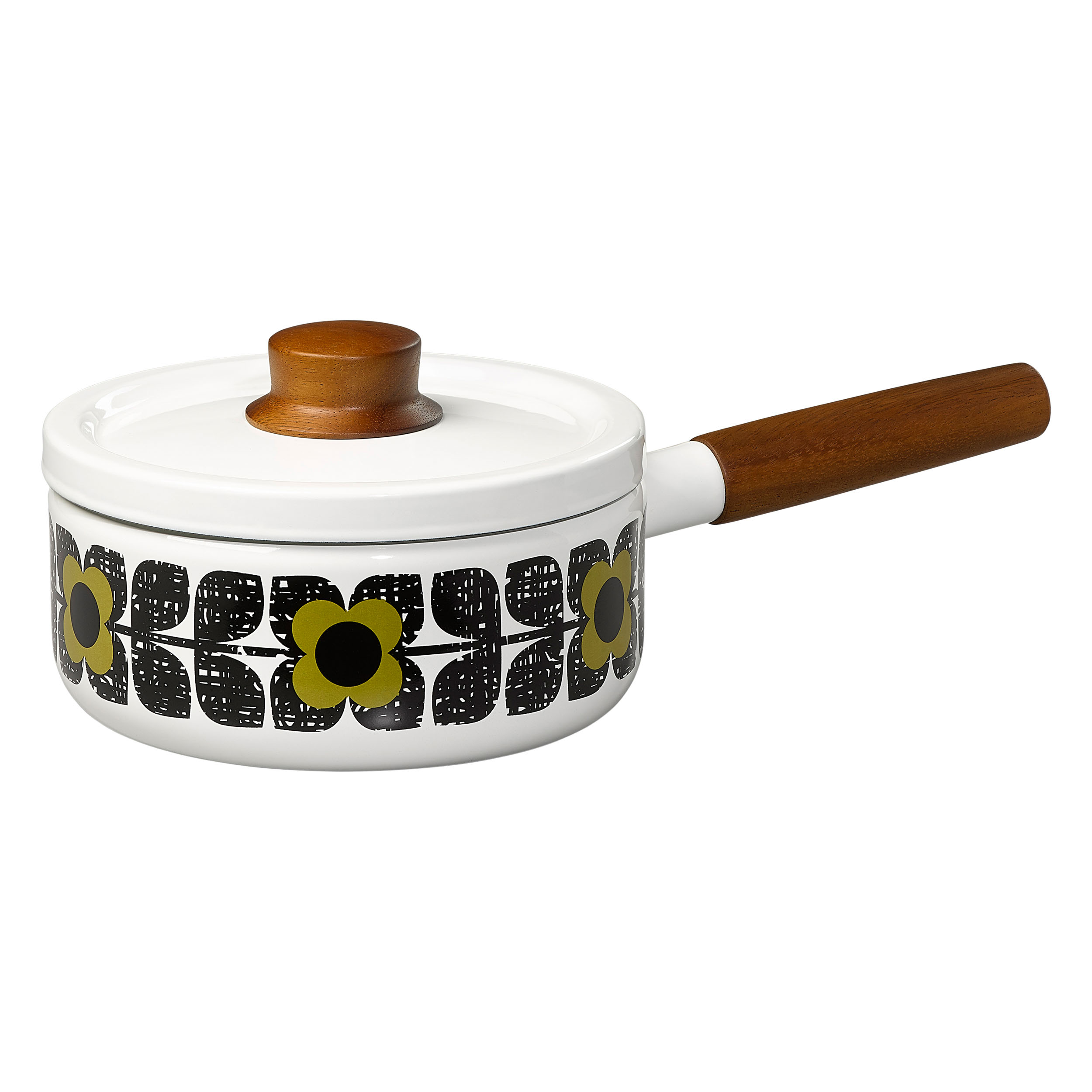 Enamel Saucepan, Scribble Square Flower, Seagrass