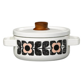 Enamel Casserole Pot, Medium, Scribble Square Flower, Rose Tint