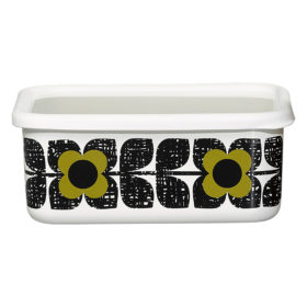 Enamel Storage Container, Large, Scribble Square Flower, Seagrass